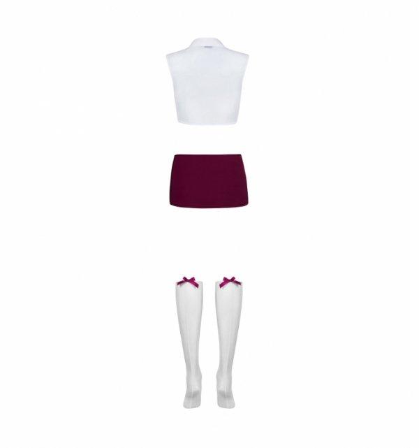 Obsessive Student kostium S/M (biały, bordo)