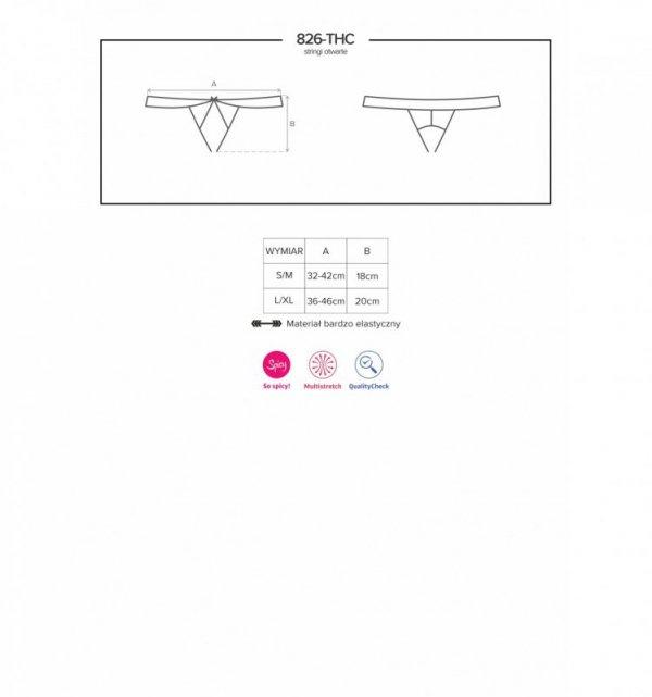 Obsessive 826-THC-4 stringi otwarte beżowo-brązowe L/XL