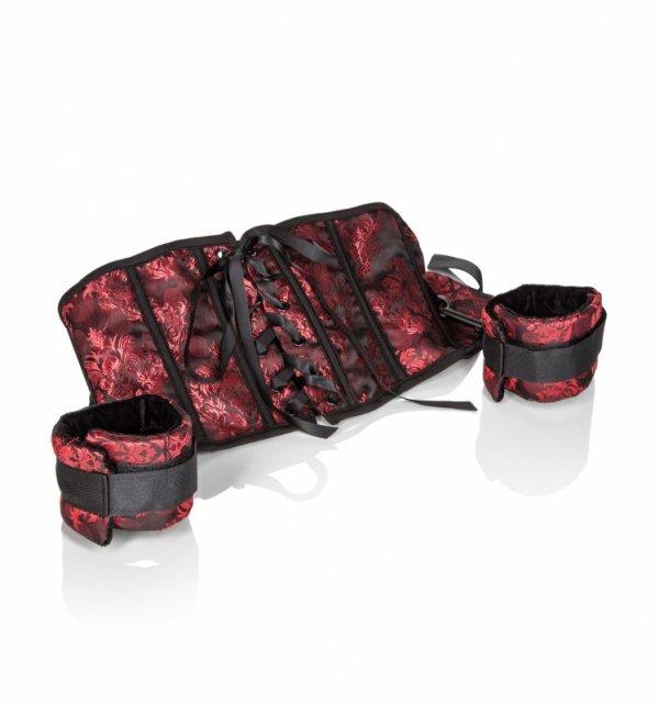 SCANDAL Corset With Cuffs - krótki gorset + kajdanki erotyczne - zestaw
