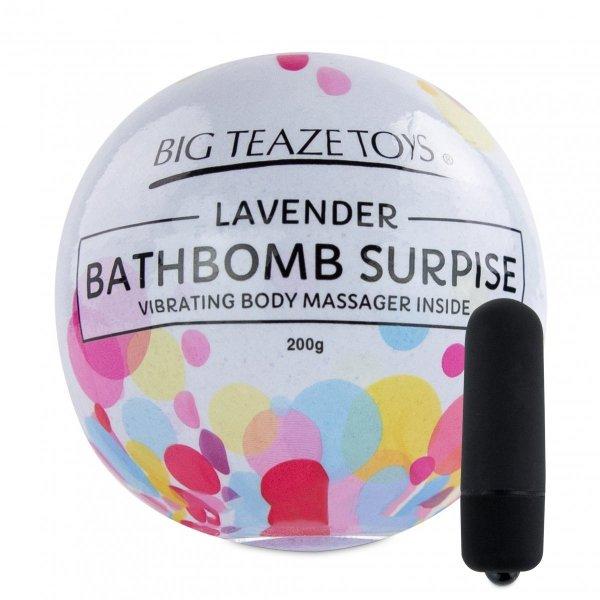 Big Teaze Toys Bath Bomb Surprise With Vibrating Body Massager Lavender - lawendowa kula do kąpieli z masażerem ciała