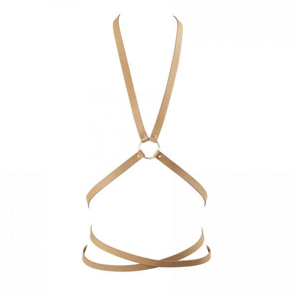 Bijoux Indiscrets MAZE Multi-way Harness - skóropodobna uprząż BDSM (brązowy)