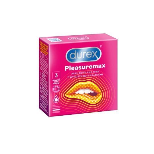 Durex Pleasuremax - Prezerwatywy z wypustkami, prążkowane (1op./3 szt.)
