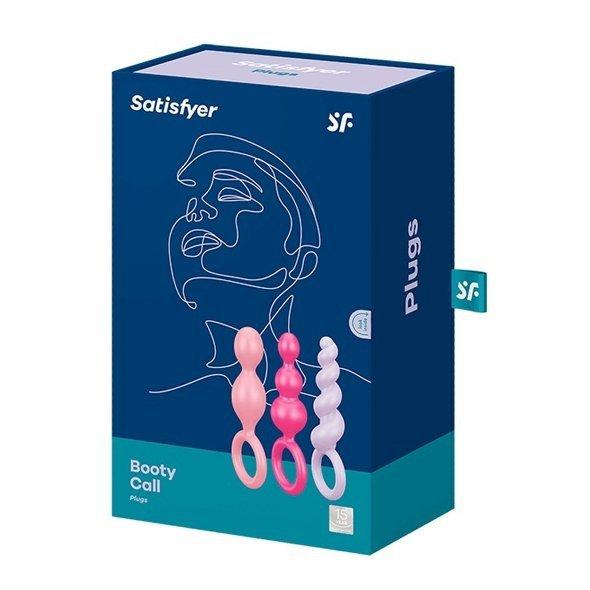 Satisfyer Plugs Colour - zestaw korków analnych (czerwony, różowy, brzoskwiniowy)