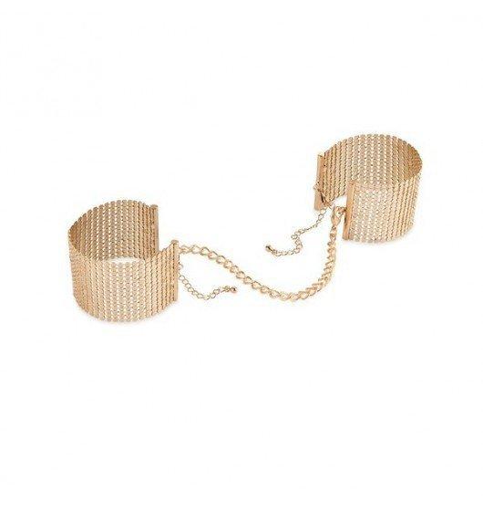 Kajdanki Bijoux Indiscrets - Gold metallic mesh handcuffs