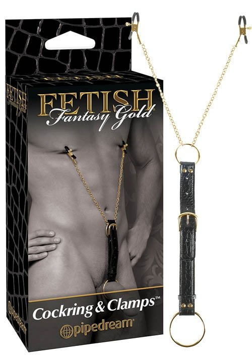 Ff Gold Cock Ring W Nipple Clamps