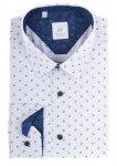 Koszula męska Slim - biała w drobny wzorek