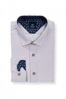 Koszula męska Slim - biała w czerwono-niebieski wzór