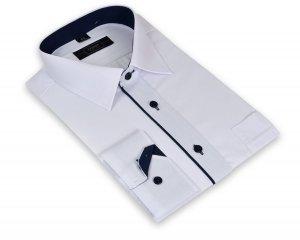 Koszula męska XXL -  biała z granatowymi dodatkami