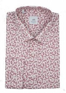 Koszula męska slim - biała w różowy wzór