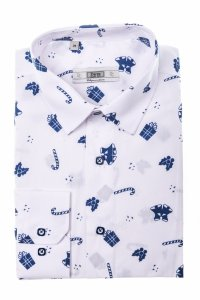 Koszula męska XXXL  - biała w świąteczny wzór