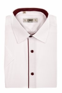 Koszula męska Slim - biała z bordowymi dodatkami