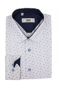 Koszula Slim -biała w niebiesko-granatowy wzór