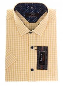 Koszula krótki rękaw Slim - w żółto-białą kratkę