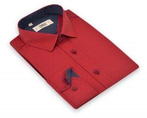 Koszula z długim rękawem Slim fit / Slim Line - bordowa w granatowy wzorek