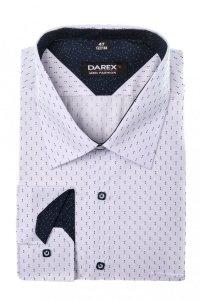 Koszula męska XXXL - biała w granatowy wzorek