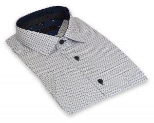Koszula męska Slim - biała w  czarno-siwy wzór