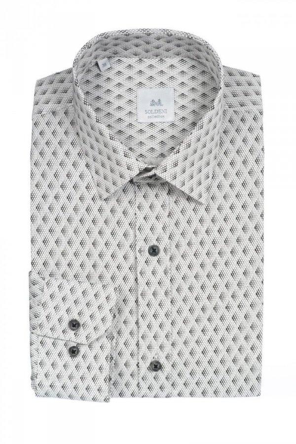 Koszula męska slim - biała w geometryczny, czekoladowy wzór