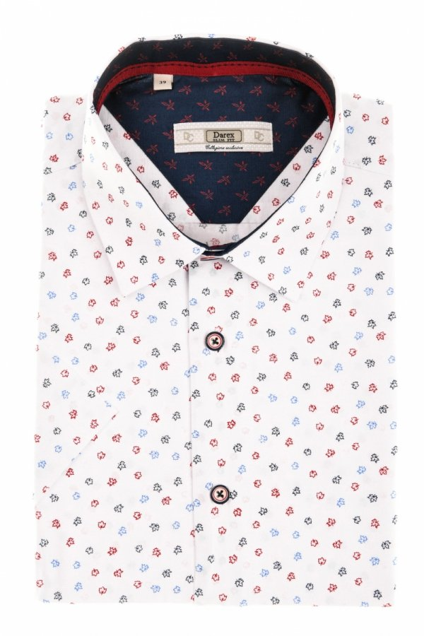 Koszula męska Slim - biała w kolorowe listki