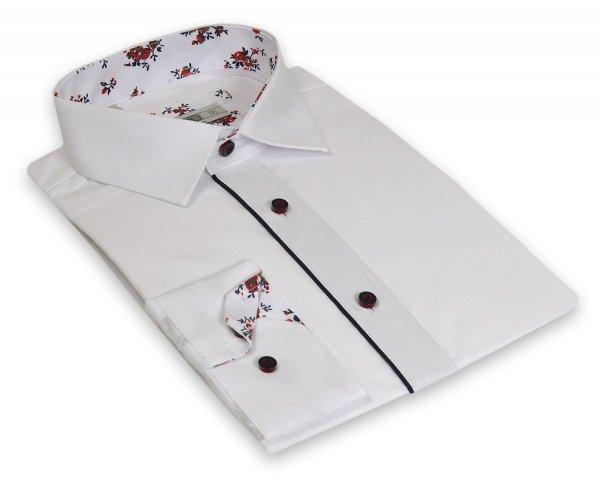 Koszula męska Slim - biała z granatowymi dodatkami