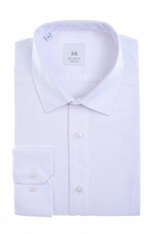 Koszula męska Slim - biała struktura
