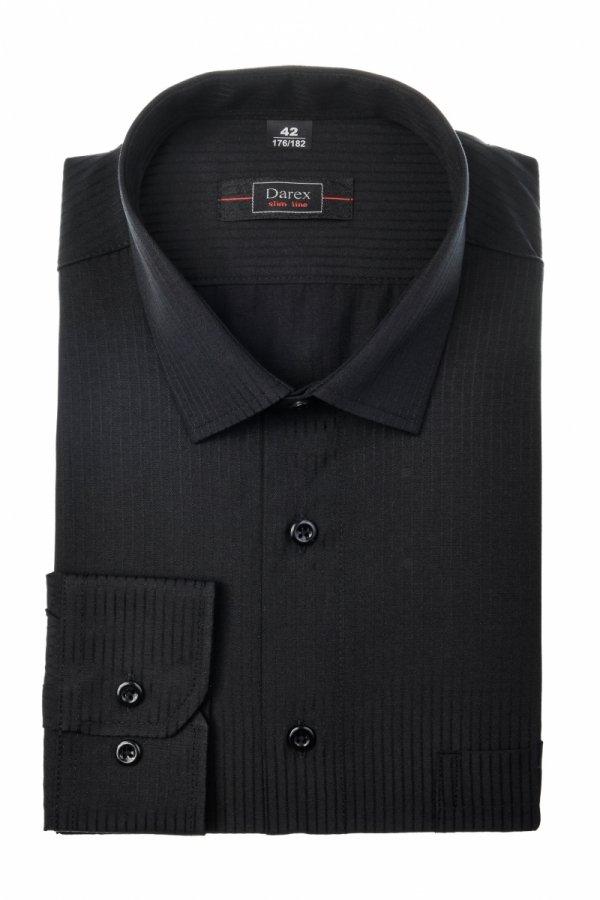 Koszula męska Slim - czarna w pasek