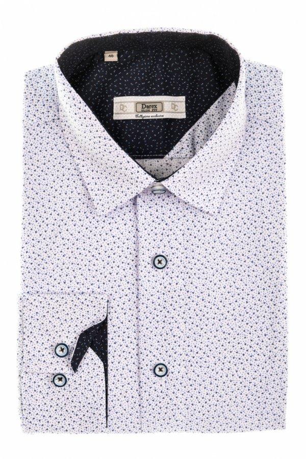 Koszula męska Slim - biała w niebiesko-granatowy wzorek