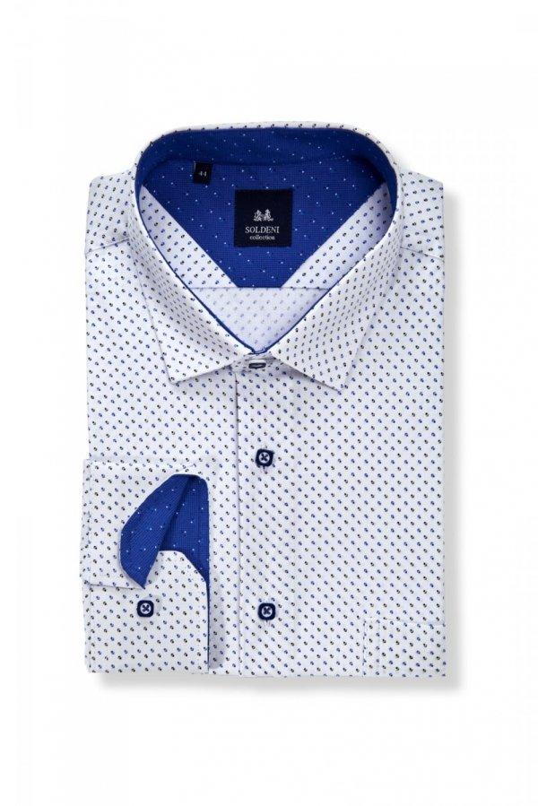Koszula męska Slim - biała w granatowo-szafirowy wzór