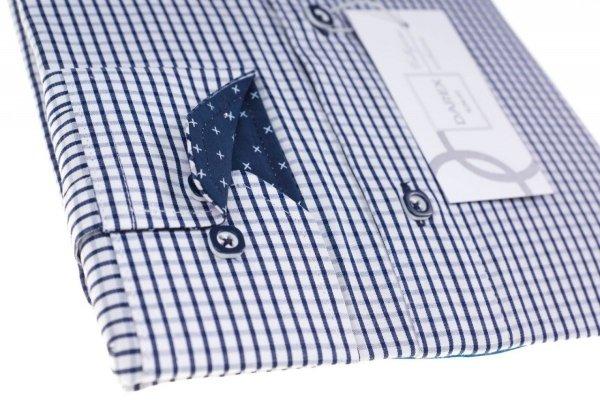 Koszula męska Slim - biała w granatową kratkę