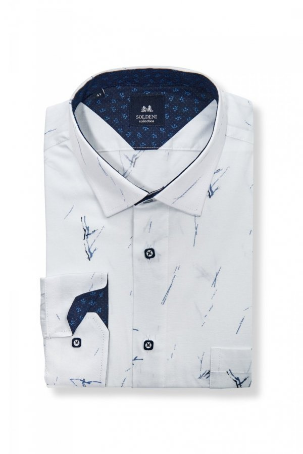 Koszula męska Slim - biała w fantazyjny wzór