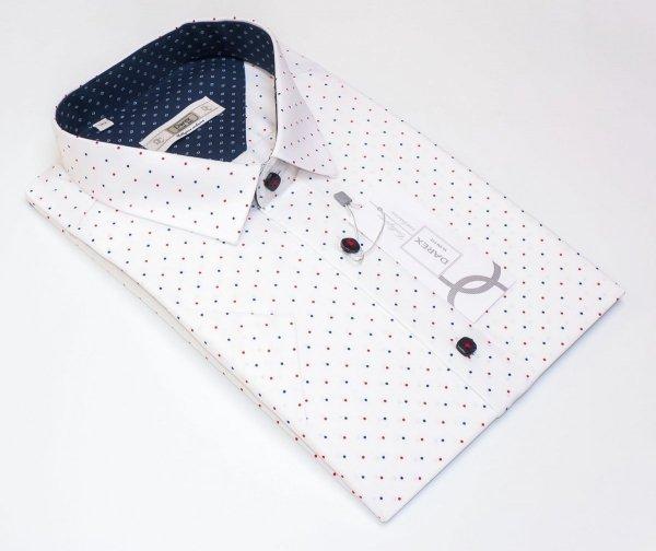 Koszula męska Slim - biała w kropeczki