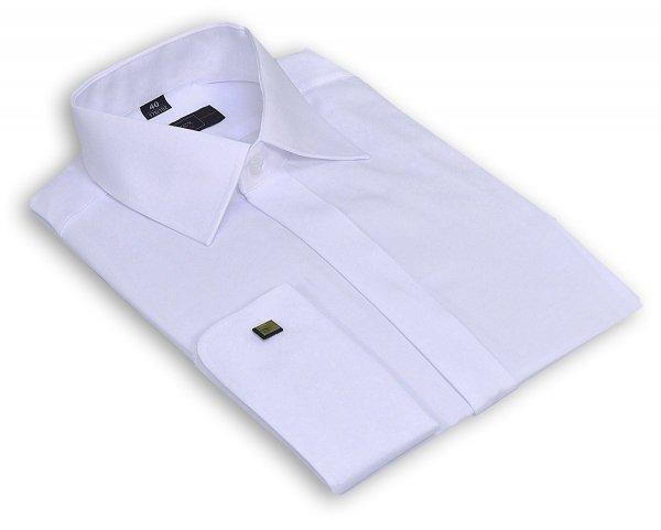 Koszula na spinkę Slim  - satynowa biała