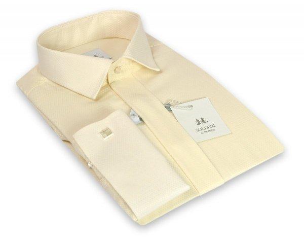 Koszula męska Slim - wizytowa w kolorze ecru