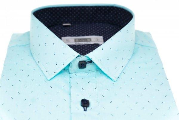 Koszula męska Slim - seledynowa w kropeczki