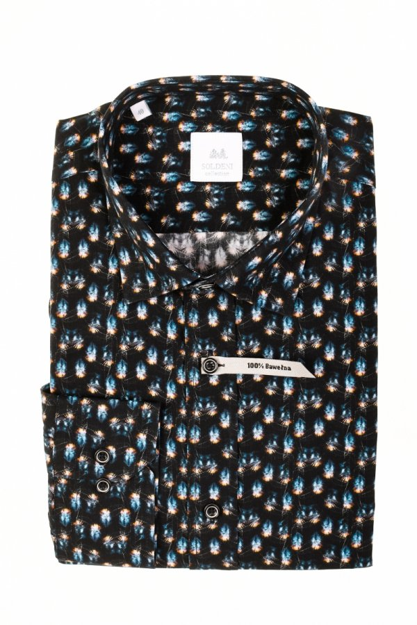 Koszula męska Slim - czarna w piórka