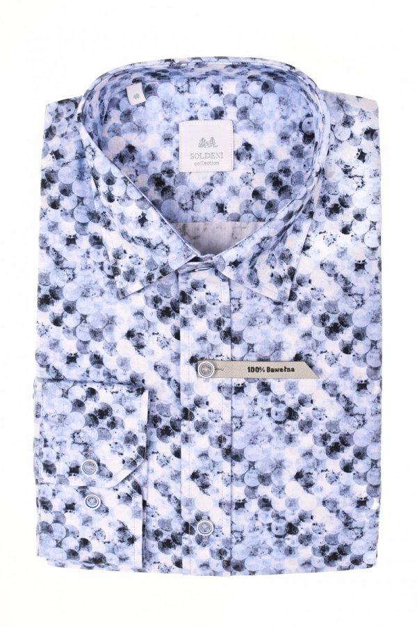 Koszula męska Slim - biała w geometryczny wzór