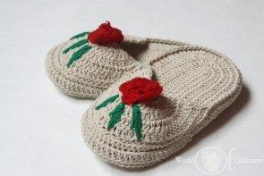 Kapcie bawełniane z haftem