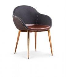 Krzesło K304 ciemno popielate/brązowe/złoty chrom