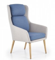 Fotel wypoczynkowy PURIO jasny popiel/niebieski