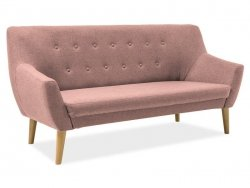 Sofa NORDIC 3 pudrowy róż/buk