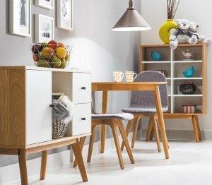 Stół drewniany półokrągły KARL 90x80 dąb