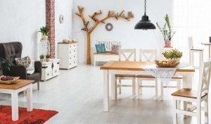 Stół POPRAD 160x90 brąz miodowy/biały