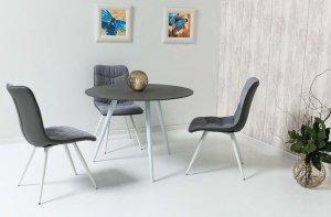 Stół szklany EVITA 100x100 szary kamień/biały