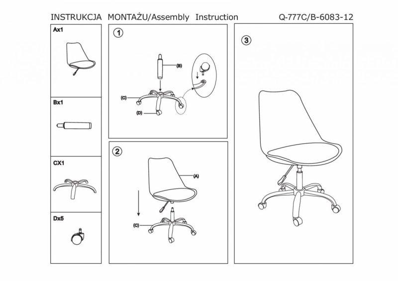 Fotel obrotowy Q777 biało-czarny