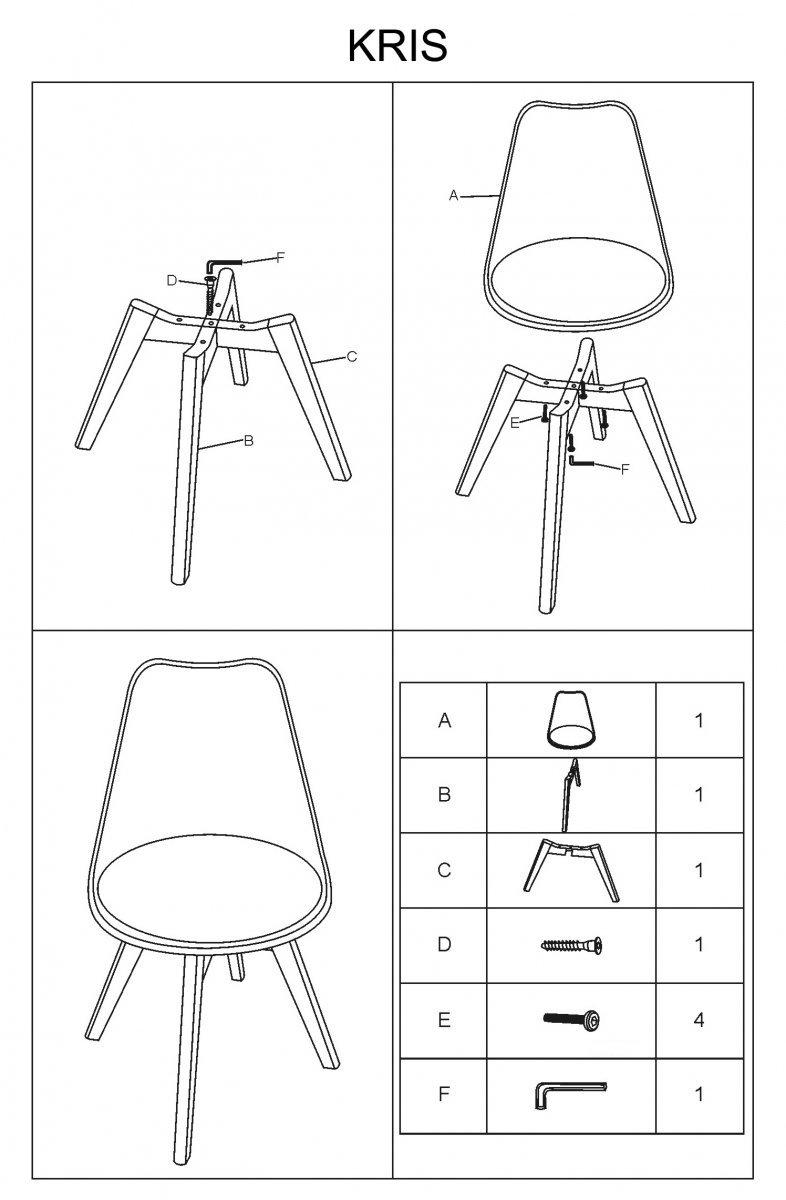 Krzesło KRIS dąb/jasny szary