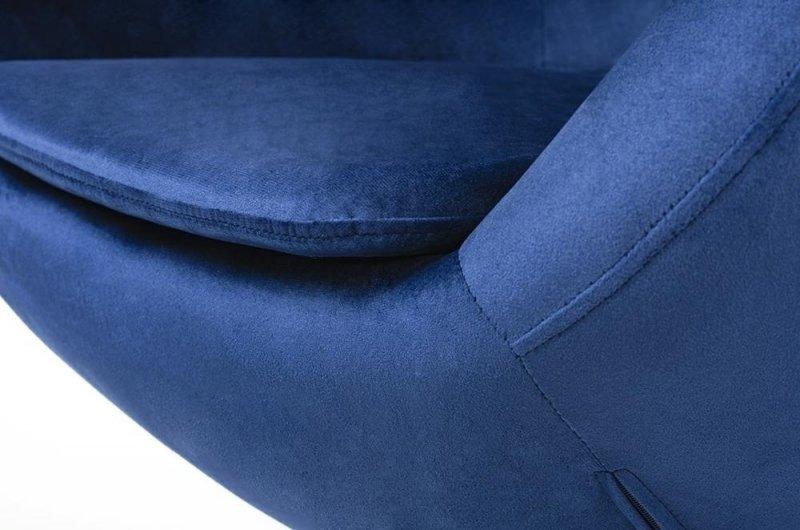 Fotel EGG SZEROKI VELVET BLACK ciemny niebieski