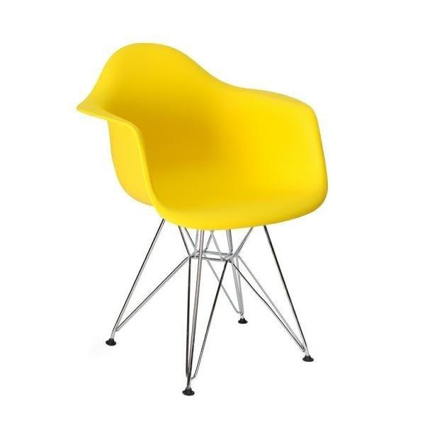 Fotel DAR SILVER żółty/chrom