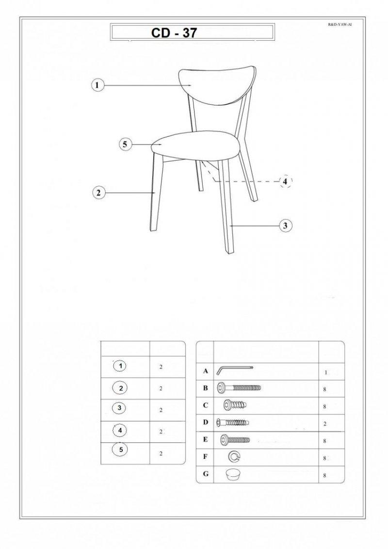 Krzesło CD-37 dąb bielony/szary