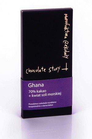 Czekolada deserowa [70% kakao z Ghany] + kwiat soli morskiej 50g
