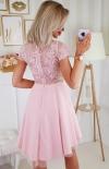 Sukienka z koronkową górą Bicotone pudrowy róż 2180-12 tył