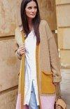 Długi trójkolorowy sweter kardigan S70